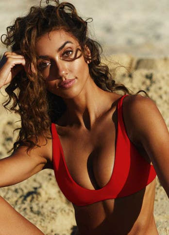 Red Scoop Swim Bikini Top
