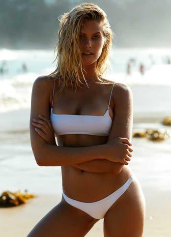 Natalie Roser in White Brazilian Bikini Set