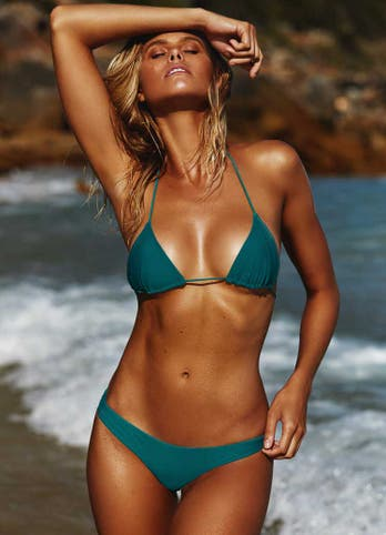 Natalie Roser in Emerald Green Cheeky Bikini Bottoms