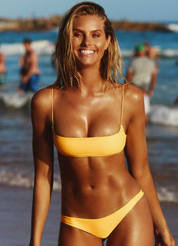 Natalie Roser in Yellow Crop Top Bikini