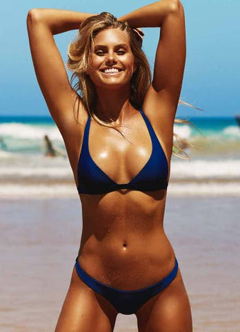 Natalie Roser in Navy Blue Bralette