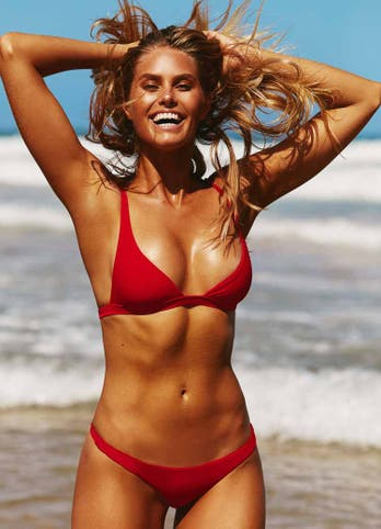 Natalie Roser in Red Swimwear