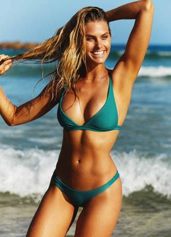 Natalie Roser in Emerald Green Brazilian Thong Swimwear