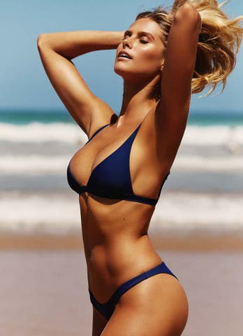 Natalie Roser in Navy Blue Cheeky Bikini Bottoms