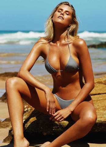 Natalie Roser in Grey Triangle Bikini Swimwear