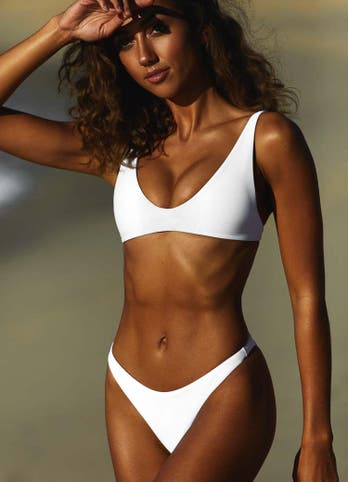 White Scoop Top Bikini Set