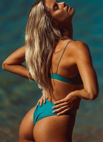 Nat Roser in Emerald Green High Cut Bikini