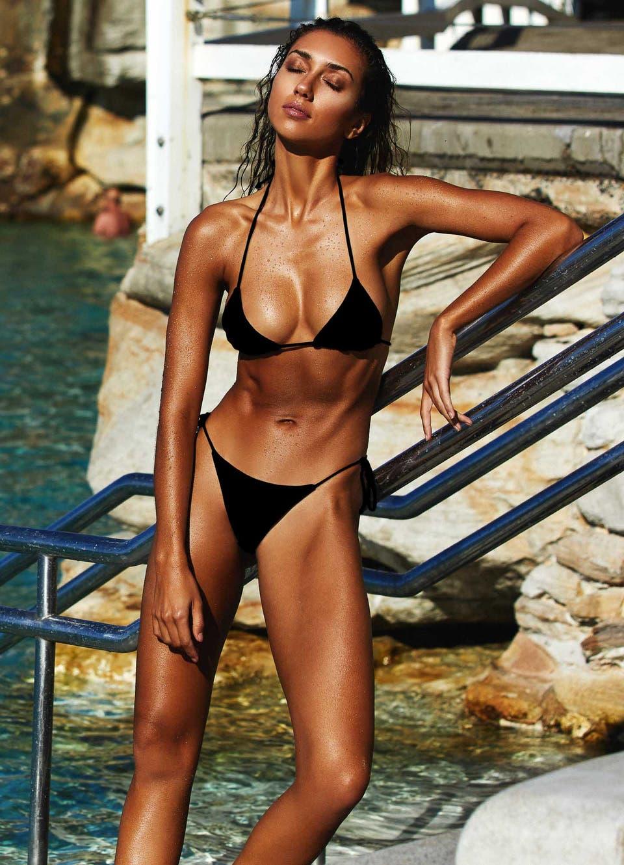 Black String Tie Side Bikini Set