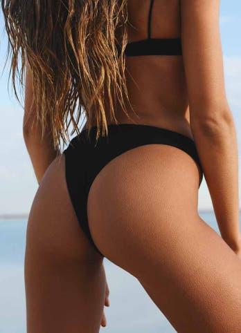 black high waist swim bottoms