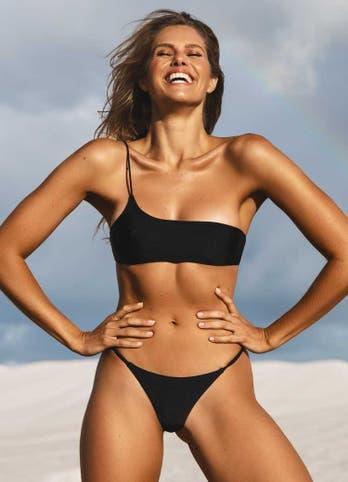 black one shoulder bathing suit