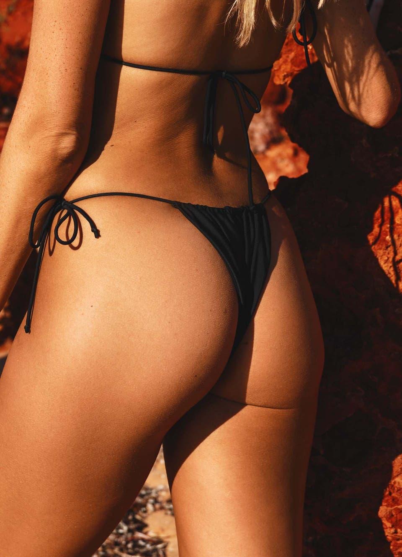 black ruched bikini bottoms