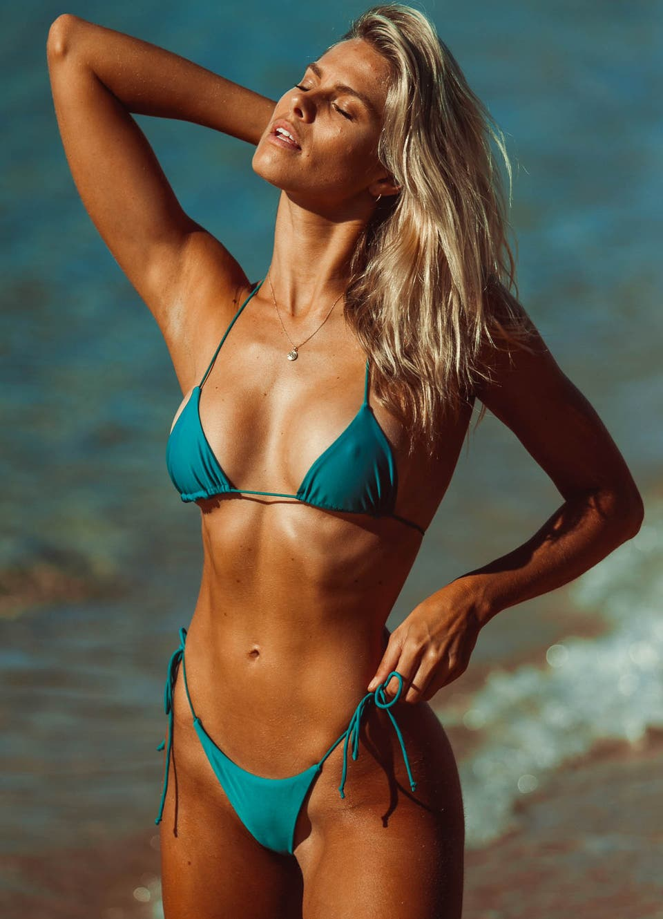 Natalie Roser in Emerald Green Sting Tie Side Bikini Set