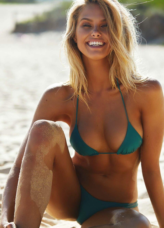 Natalie Roser in Emerald Green Triangle Bikini Set