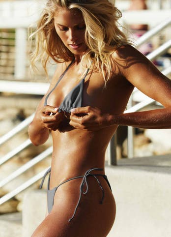 Grey String Tie Side Bikini