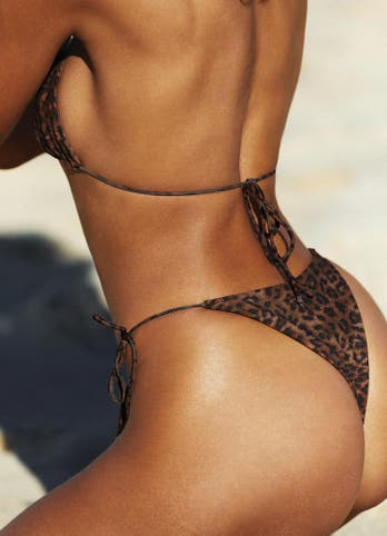 Leopard Tie Side String Bikini Bottoms