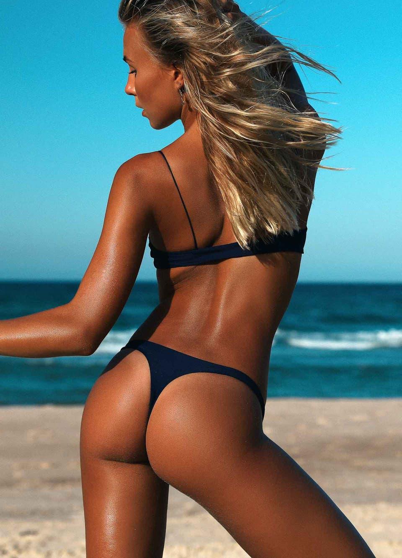Navy Blue Brazilian Thong Bikini Set
