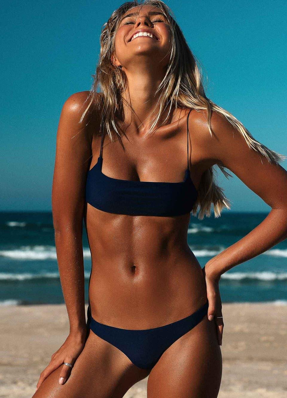 Navy Blue Cheeky Brazilian Bikini Set