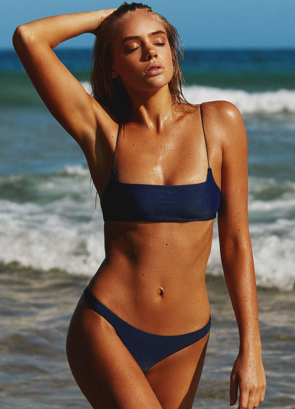 Navy Blue Crop Bikini Set