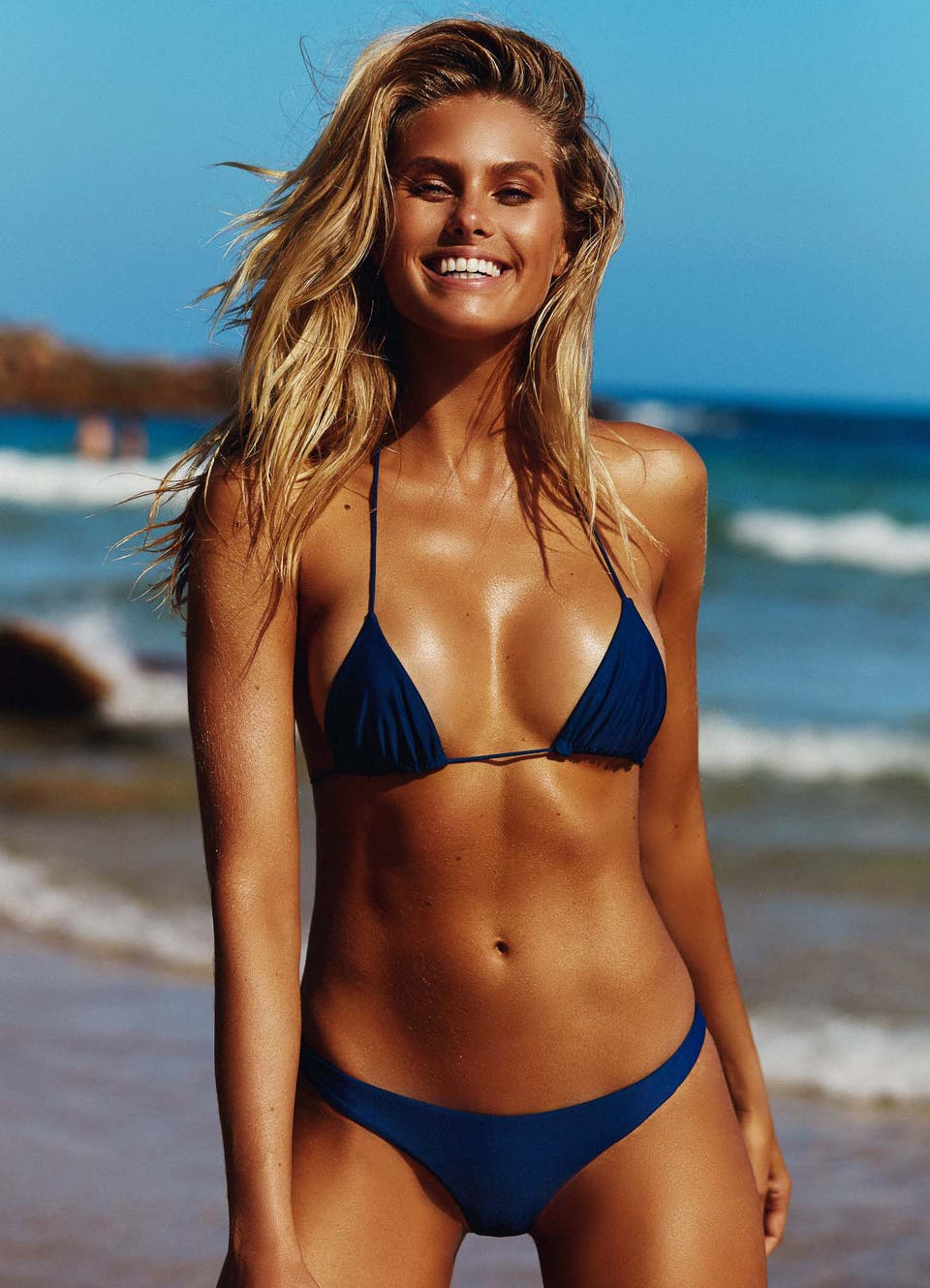 Natalie Roser in Navy Blue Triangle Top