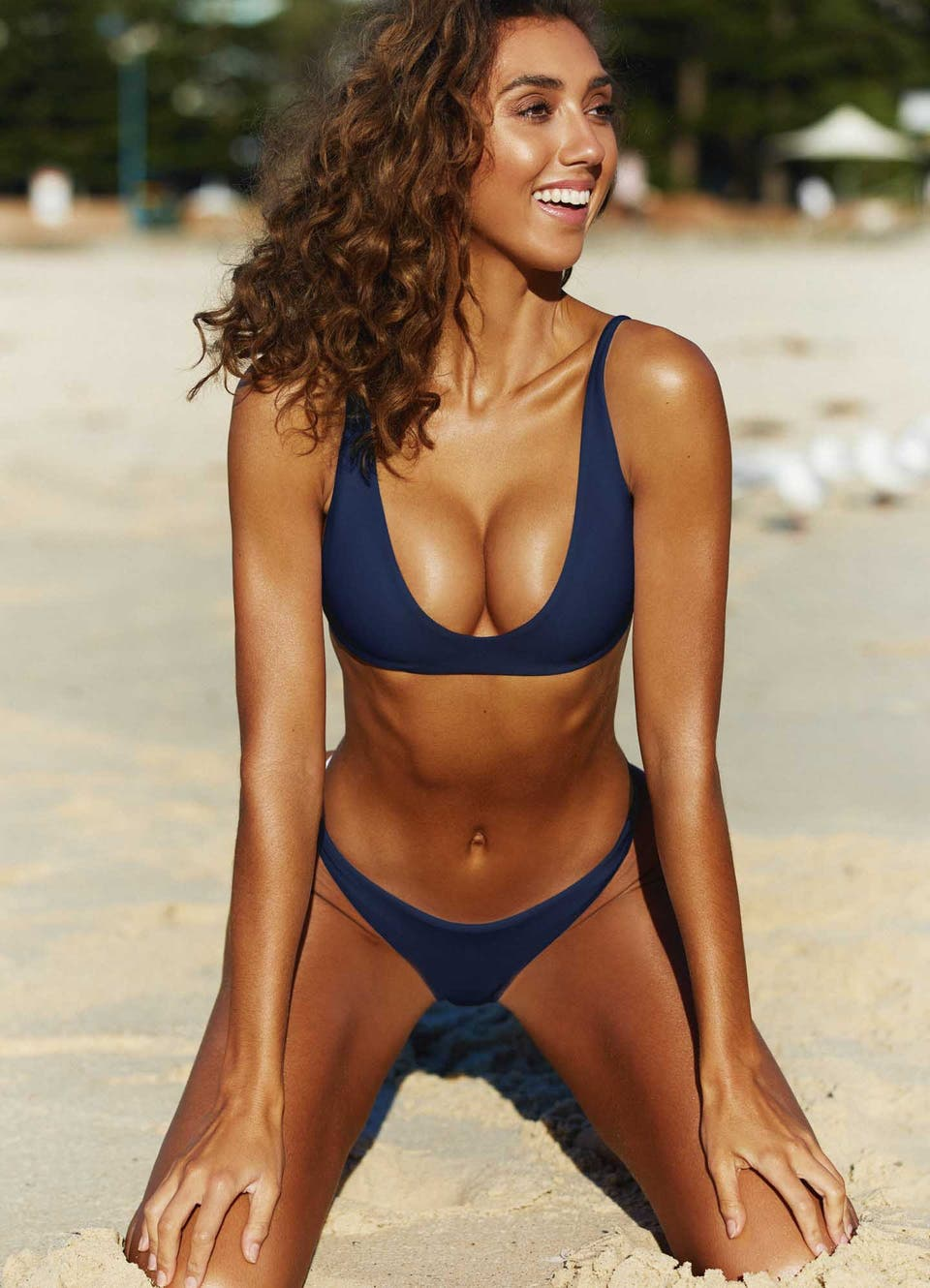 Navy Blue Scoop Bikini