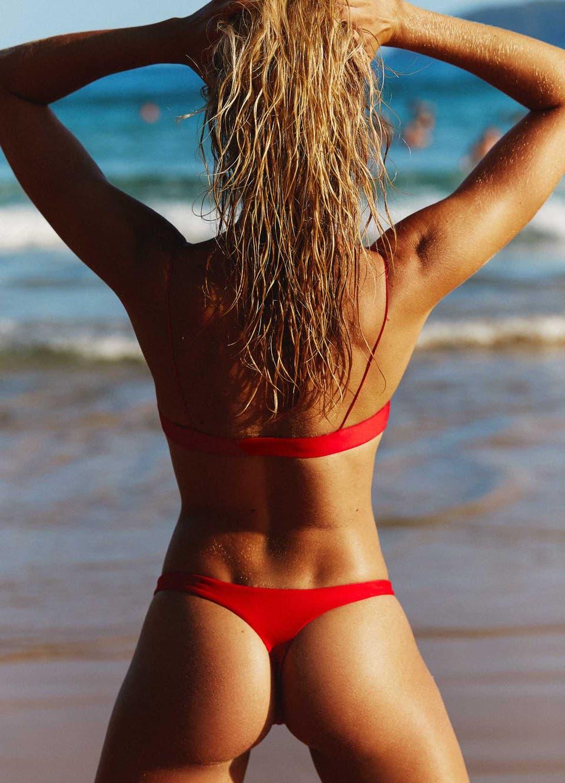 Red Brazilian Thong Bikini Set