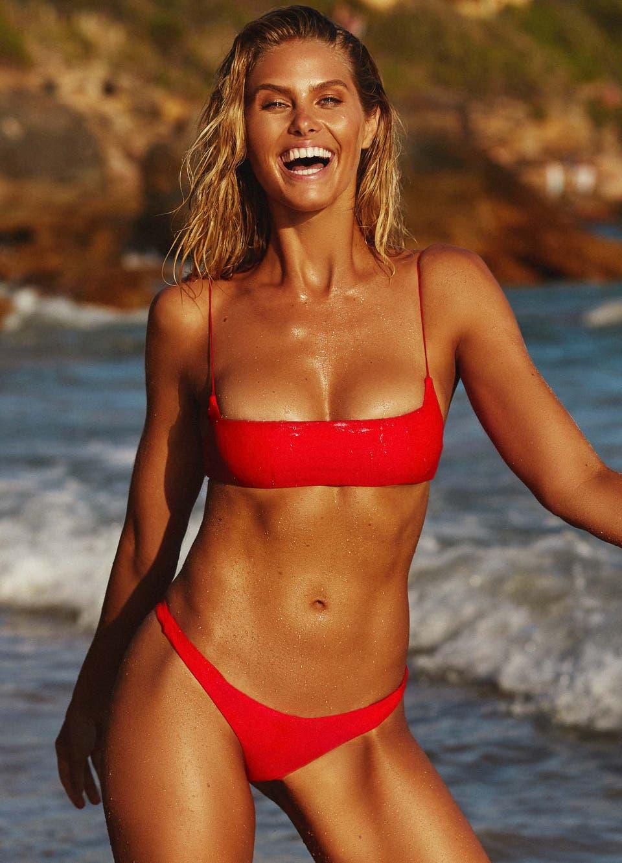 Natalie Roser in Red Crop Bikini