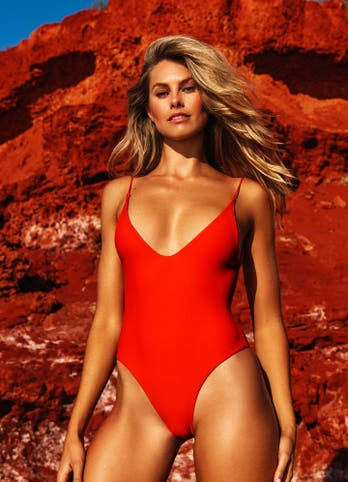 womens red swimsuit