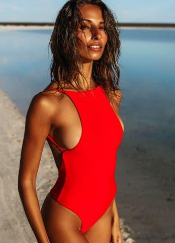 red one piece bathing suit swimwear