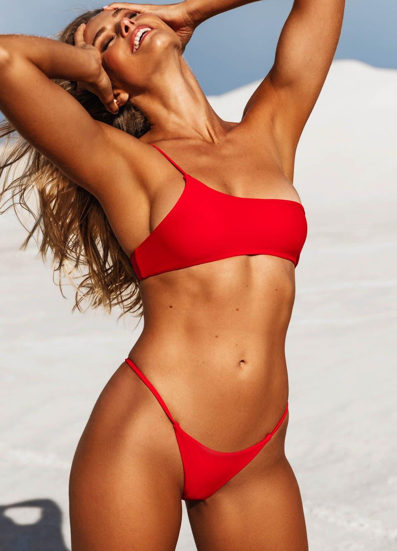 Red One Shoulder Bikini