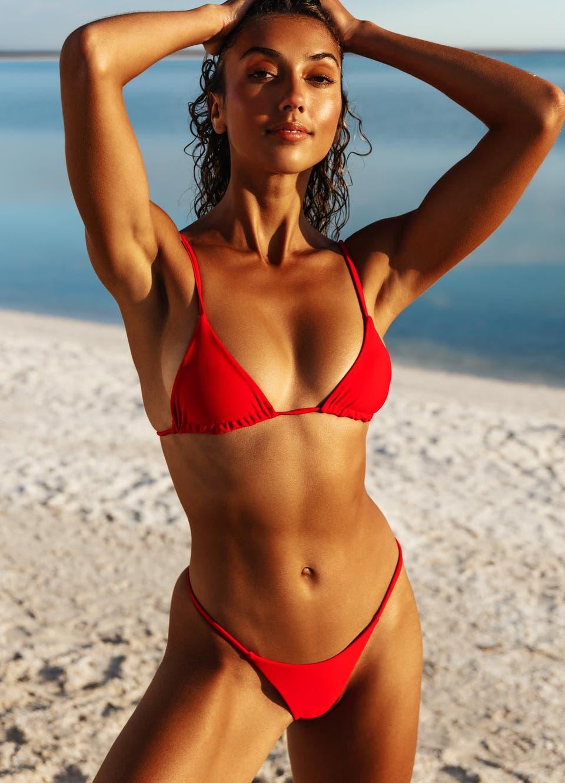 red string bikini top