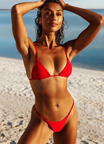 red string bikini top set