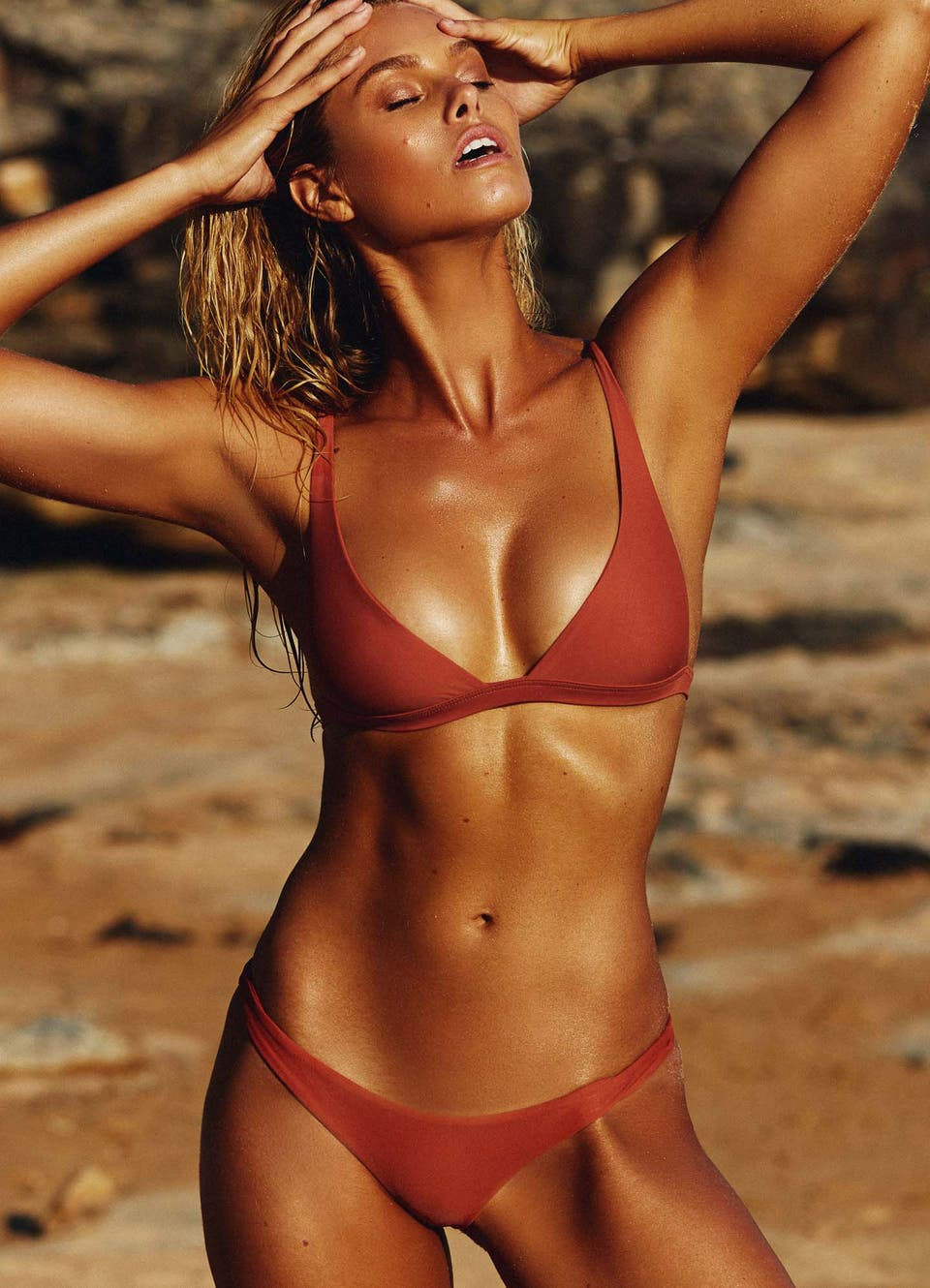 Natalie Roser in Rust Cheeky Bikini Set