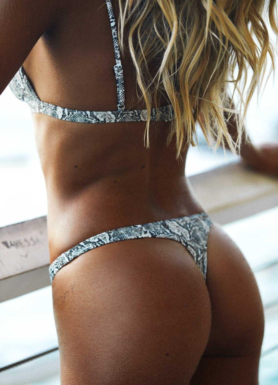 Natalie Roser in Snake Print Brazilian Thong Bikini Set