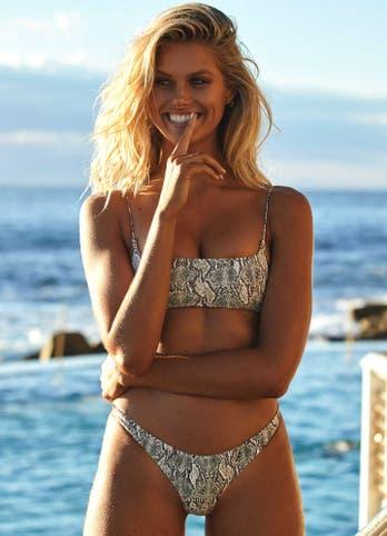 Natalie Roser in Snake Print Cheeky Brazilian Bikini Set