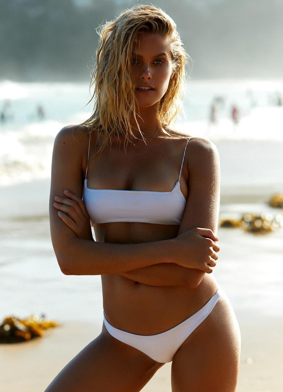 Natalie Roser in White Brazilian Thong Bikini Set