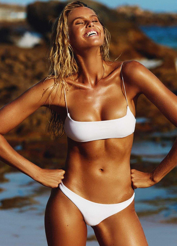 Natalie Roser in White Cheeky Bikini