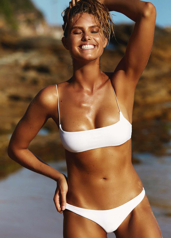 Natalie Roser in White Crop Bikini