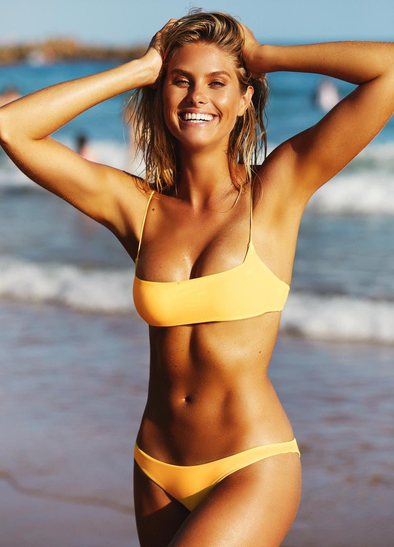 Natalie Roser in Yellow Cheeky Bikini Set