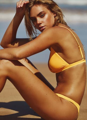 Yellow Cheeky Brazilian Bikini Set