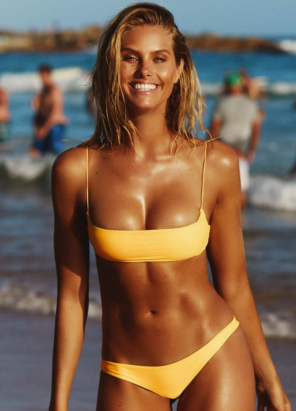 Natalie Roser in Yellow Crop Bikini Set