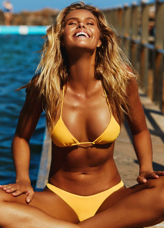 Natalie Roser in Yellow Triangle Bikini Set