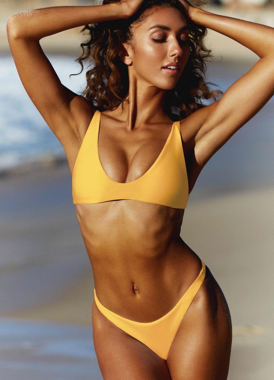 Yellow Scoop Bikini Top